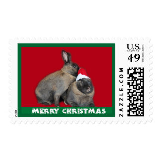 Christmas Bunny Rabbits Santa Hat Red Postage Stamp