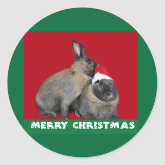 Christmas Bunny Rabbits Santa Hat Red Round Stickers