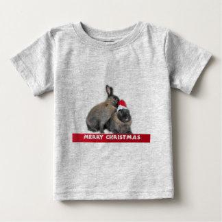 Christmas Bunny Rabbits with Santa Hat New Year Baby T-Shirt