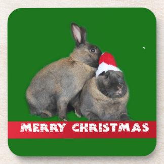 Christmas Bunny Rabbits with Santa Hat New Year Drink Coaster