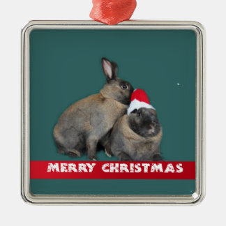 Christmas Bunny Rabbits with Santa Hat New Year Metal Ornament