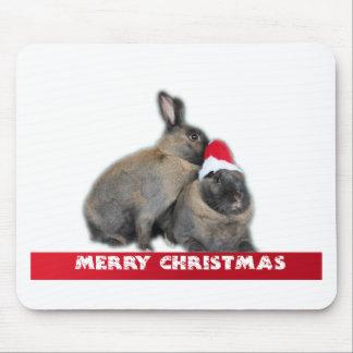 Christmas Bunny Rabbits with Santa Hat New Year Mouse Pad