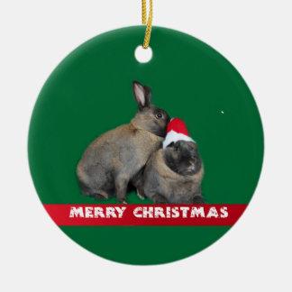 Christmas Bunny Rabbits with Santa Hat New Year Ornaments