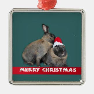 Christmas Bunny Rabbits with Santa Hat New Year Christmas Tree Ornament