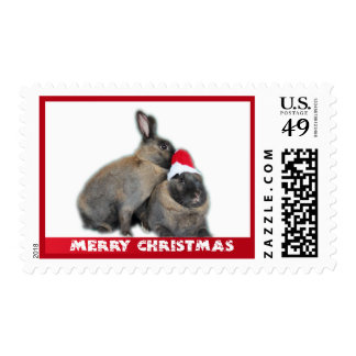 Christmas Bunny Rabbits with Santa Hat New Year Postage Stamp