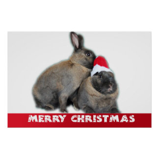 Christmas Bunny Rabbits with Santa Hat New Year Poster