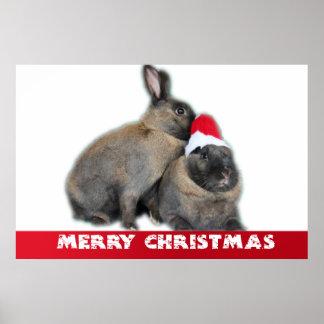 Christmas Bunny Rabbits with Santa Hat New Year Print