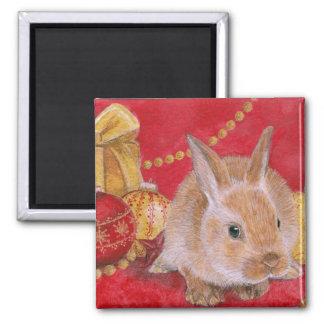 Christmas Bunny Rabit Xmas Ornaments Magnet