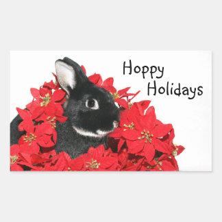 Christmas bunny rectangular sticker