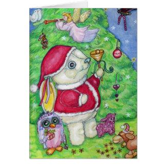 Christmas Bunny Santa Cute Illustrated Greeting Greeting Card