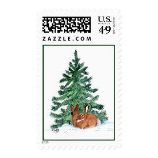 Christmas Bunnys Postage Stamp