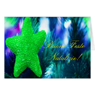 Christmas Buone Feste Natalizie Green Star III Card