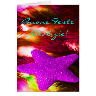 Christmas Buone Feste Natalizie Purple Star III Card