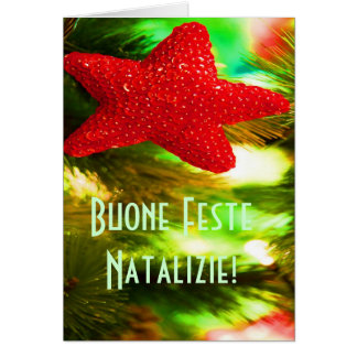 Christmas Buone Feste Natalizie Red Star III Card
