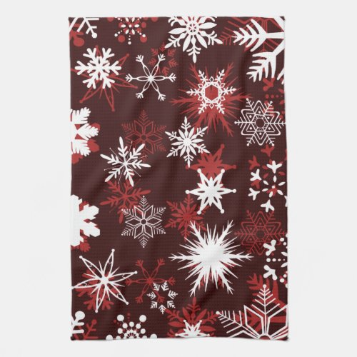 Christmas burgundy wine and white snowflakes decor kitchen towels