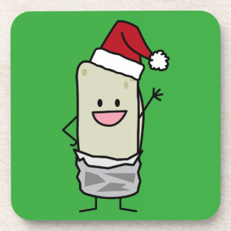 Christmas Burrito Waving Hello Santa Hat Holiday Beverage Coaster