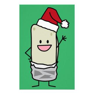 Christmas Burrito Waving Hello Santa Hat Holiday Stationery