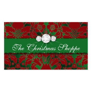 Christmas Business Card Damask Floral Green Red