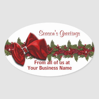 Christmas business greeting PERSONALIZE Oval Sticker