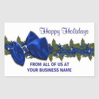 Christmas business greeting seals PERSONALIZE Rectangular Sticker