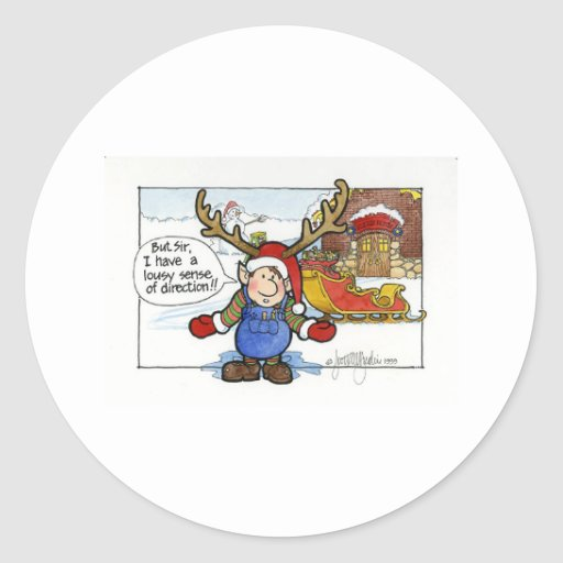 "Christmas ""But Sir"" Cartoon No. 2 Round Sticker"