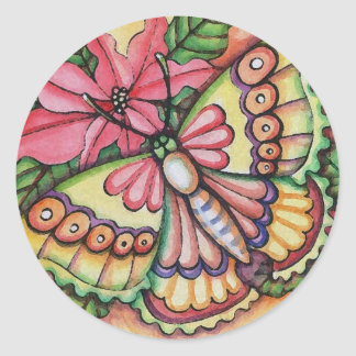 Christmas * Butterfly & Poinsettia *  Sticker