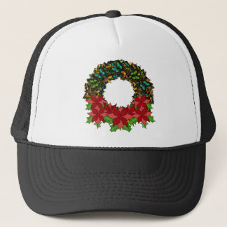 Christmas Butterfly Poinsettia Wreath Cap