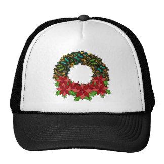 Christmas Butterfly Poinsettia Wreath Cap Trucker Hat