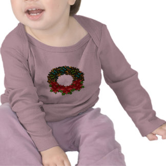 Christmas Butterfly Poinsettia Wreath T Shirt