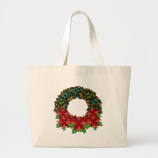 Christmas Butterfly Poinsettia Wreath Tote Bag