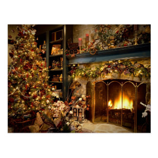 Christmas By The Fireplace Postcard