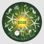Christmas by the Shore Round Holiday Sticker