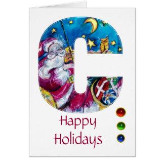 CHRISTMAS C LETTER INSPIRED SANTA MONOGRAM GREETING CARDS