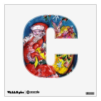 CHRISTMAS C LETTER SANTA CLAUS WITH GIFTS MONOGRAM WALL DECAL