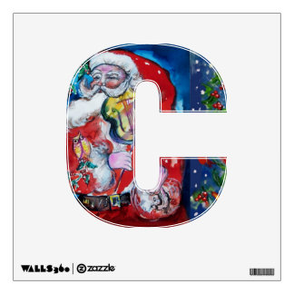 CHRISTMAS C LETTER /SANTA  CLAUS WITH VIOLIN WALL DECAL
