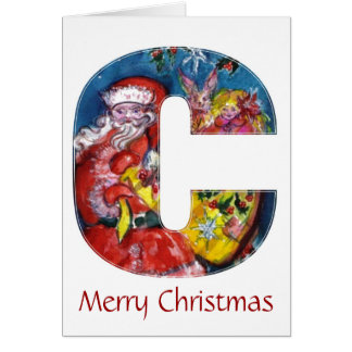 CHRISTMAS C LETTER  / SANTA  WITH GIFTS MONOGRAM CARD