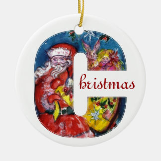 CHRISTMAS C LETTER  / SANTA  WITH GIFTS MONOGRAM CERAMIC ORNAMENT