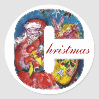 CHRISTMAS C LETTER  / SANTA  WITH GIFTS MONOGRAM CLASSIC ROUND STICKER