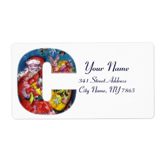 CHRISTMAS C LETTER  / SANTA  WITH GIFTS MONOGRAM LABEL