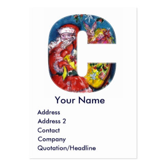CHRISTMAS C LETTER / SANTA WITH GIFTS MONOGRAM LARGE BUSINESS CARD