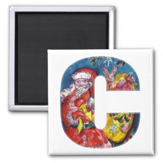 CHRISTMAS C LETTER  / SANTA  WITH GIFTS MONOGRAM MAGNET