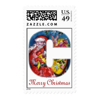 CHRISTMAS C LETTER  / SANTA  WITH GIFTS MONOGRAM POSTAGE