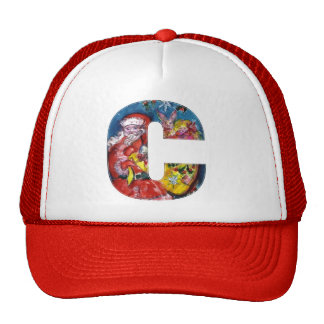 CHRISTMAS C LETTER  / SANTA  WITH GIFTS MONOGRAM TRUCKER HAT