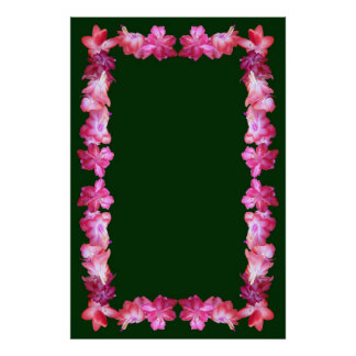 Christmas Cactus Border on Gray Background Poster