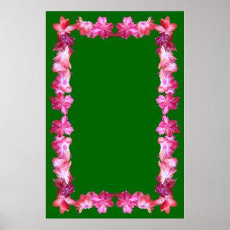 Christmas Cactus Border on Green Background Print