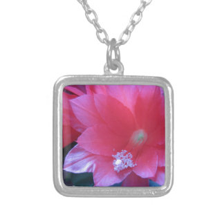 Christmas Cactus Flowers Square Pendant Necklace