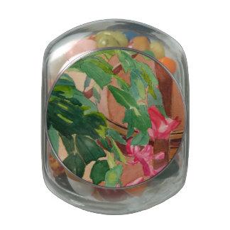 Christmas Cactus Glass Jar
