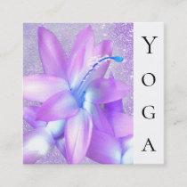 *~* Christmas Cactus Healer Floral Reiki Yoga Square Business Card