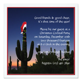 Christmas Cactus Party Invitation