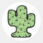 christmas cactus round stickers